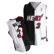 Adidas Dwyane Wade Miami Heat Black Authentic Split Fashion Jersey - White