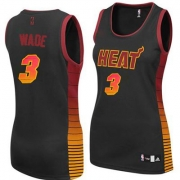 Adidas Dwyane Wade Miami Heat Authentic Womens Vibe Jersey - Black