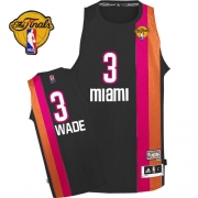 Adidas Dwyane Wade Miami Heat Authentic ABA Hardwood Classic With Finals Patch Jersey - Black