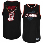 Adidas Dwyane Wade Miami Heat Majestic Athletic Authentic Notorious Fashion Jersey - Black