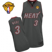 Adidas Dwyane Wade Miami Heat Authentic Graystone Fashion With Finals Patch Jersey - Black