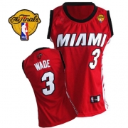Adidas Dwyane Wade Miami Heat Authentic Womens Alternate With Finals Patch Jersey - Red