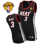 Adidas Dwyane Wade Miami Heat Authentic Womens Road With Finals Patch Jersey - Black