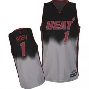 Adidas Chris Bosh Miami Heat Grey Authentic Fadeaway Fashion Jersey - Black