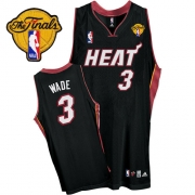 Adidas Dwyane Wade Miami Heat Youth Road Authentic With Finals Patch Jersey - Black