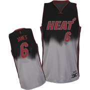 Adidas LeBron James Miami Heat Grey Authentic Fadeaway Fashion Jersey - Black