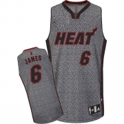 Adidas LeBron James Miami Heat Authentic Static Fashion Jersey - Grey