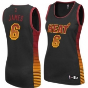 Adidas LeBron James Miami Heat Authentic Womens Vibe Jersey - Black