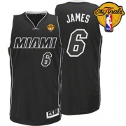 Adidas LeBron James Miami Heat Authentic Black Revolution 30 With 2012 Finals Patch Jersey - White