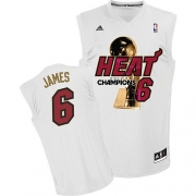 Adidas LeBron James Miami Heat Swingman Home 2012 Finals Champions Jersey - White