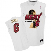 Adidas LeBron James Miami Heat Authentic Home 2012 Finals Champions Jersey - White