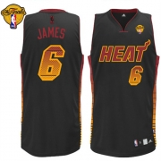 Adidas LeBron James Miami Heat Vibe Authentic With Finals Patch Jersey - Black