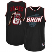 Adidas LeBron James Miami Heat Majestic Athletic Authentic Notorious Fashion Jersey - Black