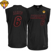 Adidas LeBron James Miami Heat on With Finals Patch Authentic Jersey - Black