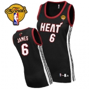 Adidas LeBron James Miami Heat Authentic Womens Road With Finals Patch Jersey - Black