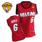 Adidas LeBron James Miami Heat Authentic Womens Alternate With Finals Patch Jersey - Red