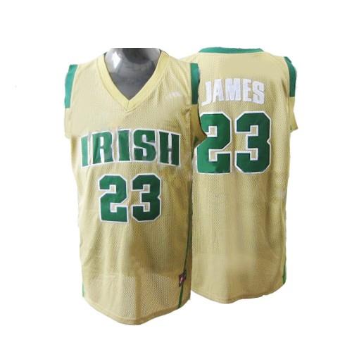 33f7f9bffd71 Adidas LeBron James Miami Heat Swingman Earth Irish High School Jersey -  Yellow