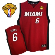 Adidas LeBron James Miami Heat Youth Alternate Authentic With Finals Patch Jersey - Red