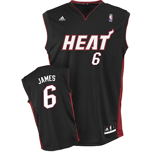 Adidas LeBron James Miami Heat Youth Road Swingman Jersey - Black