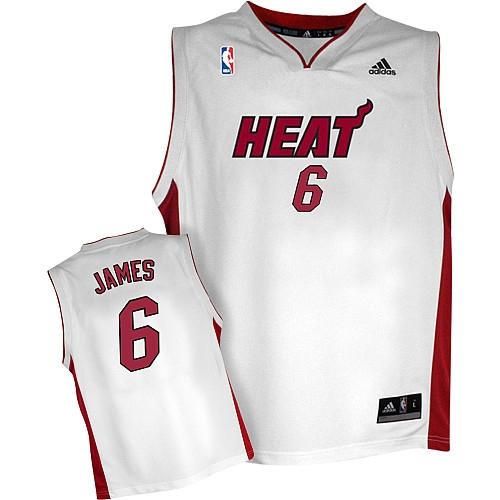 premium selection b1ee8 716b6 Adidas LeBron James Miami Heat Home Swingman Jersey - White