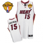 Adidas Mario Chalmers Miami Heat Authentic Home With Finals Patch Jersey - White