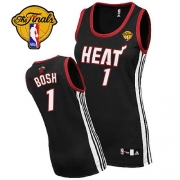 Adidas Chris Bosh Miami Heat Authentic Womens Road With Finals Patch Jersey - Black
