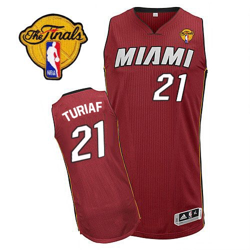 Adidas Ronny Turiaf Miami Heat Authentic Alternate Revolution 30 With Finals Patch Jersey - Red