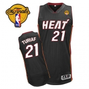 Adidas Ronny Turiaf Miami Heat Authentic Road Revolution 30 With Finals Patch Jersey - Black