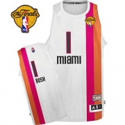 Adidas Chris Bosh Miami Heat Authentic ABA Hardwood Classic With Finals Patch Throwback Jersey - White