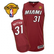 Adidas Shane Battier Miami Heat Authentic Alternate Revolution 30 With Finals Patch Jersey - Red