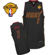 Adidas Chris Bosh Miami Heat Authentic Carbon Fiber Fashion With Finals Patch Jersey - Black