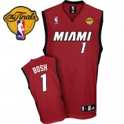 Adidas Chris Bosh Miami Heat Alternate Authentic With Finals Patch Jersey - Red